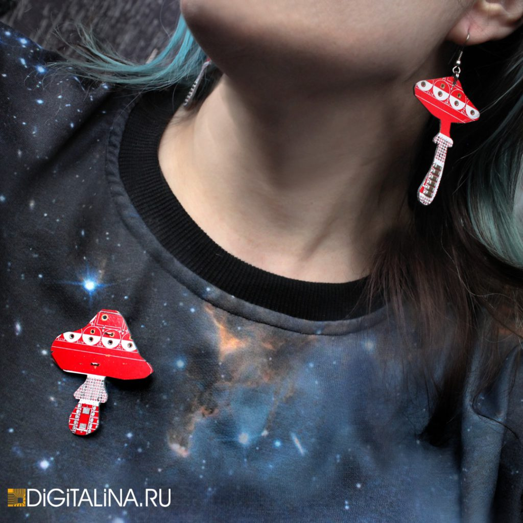 Брошь/кулон Digitalina shroom 100220