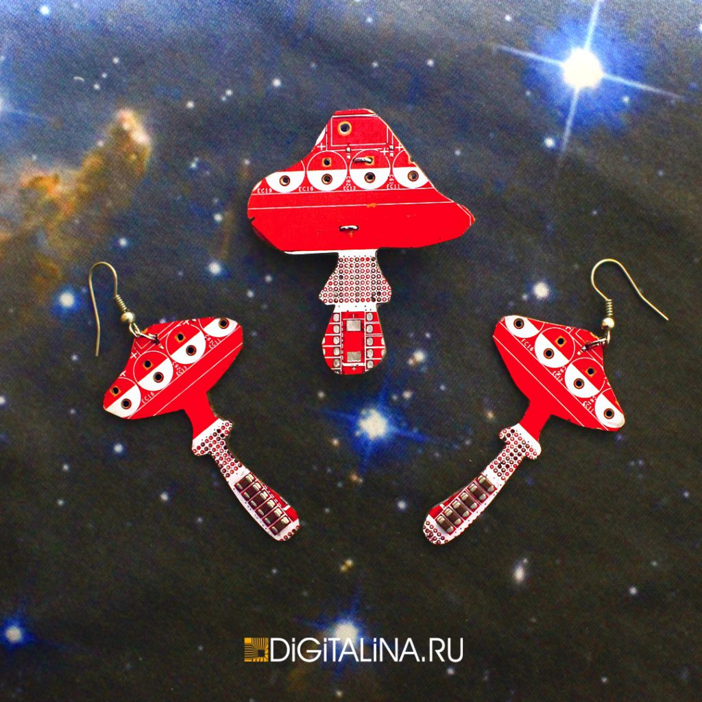 Серьги Digitalina shrooms 100220