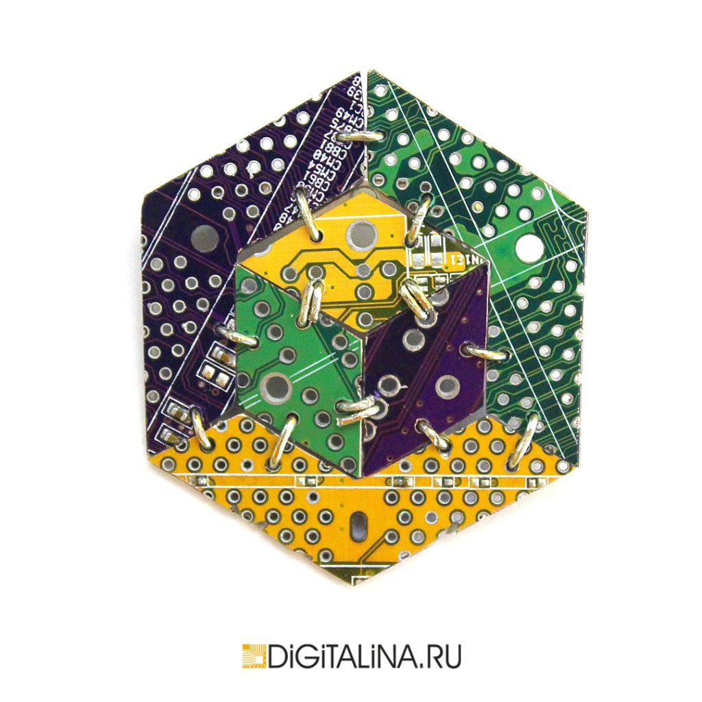 Брошь «КиберКуб02»